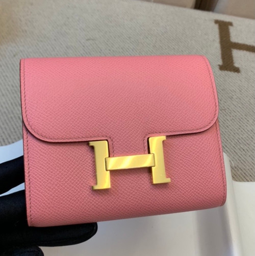 Hermes Constance Compact Passant wallet Sakura Pink Epsom Leather with Gold Hardware