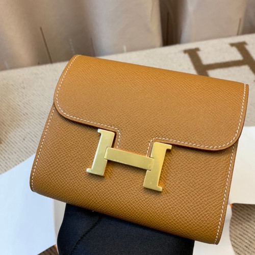 Hermes Constance Compact Passant wallet Gold Epsom Leather with Gold Hardware