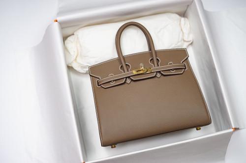 Hermes Birkin 25 Sellier Etoupe  Madame Grain Gold Hardware