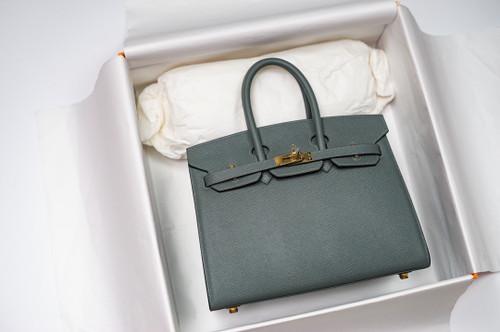 Hermes Birkin 25 Sellier Vert Amande  Madame Grain Gold Hardware
