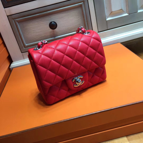 CHANEL Red Lamb Skin Mini Square Classic Flap Chain Shoulder Bag