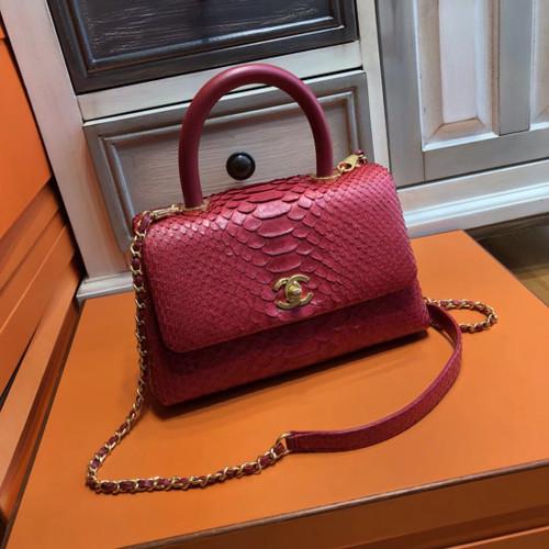 48c4bc544291 Chanel Red Python Flap Bag with top handle - Bella Vita Moda
