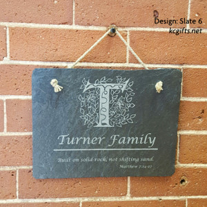 Engraved Slate Family Name Sign