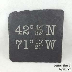 GPS Coordinates Slate Hotplate - Engraved Stone, Housewarming Gift, New Home Gift, Realtor Closing Gift,  Slate Sign, House Sign