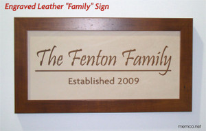 Family Name Engraved Leather Sign