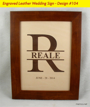 Leather Family Name Sign - Wedding or Anniversary Gift