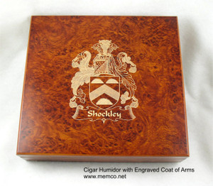Cigar Humidor with Engraved Coat of Arms - Burl Color - 20 Cigar Capacity