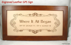 Engraved Leather GPS Sign featuring your special location. 3rd Anniversary Leather Anniversary Gift