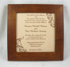 Wedding Vows or Invitation Engraved in Leather or Metal, Framed - 3rd Anniversary Gift - Third Aniversary Gift - Leather Anniversary