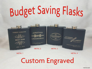 Groomsman Flask Personalized Engraved Flask, Wedding Flask, Best Man Gift, Father of the Bride, Father of the Groom, BUDGET SAVER