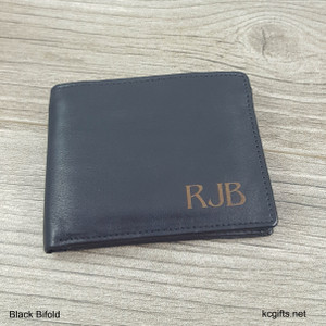 Wallet Black Bifold - Personalized Men's Leather Wallet with Engraved Monogram