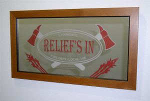 "Custom Etched Bar Mirror - 12"" x 24"" multi color engraving WITH Frame - 2 COLOR ENGRAVING"