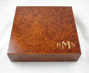 Birthday Gift for Men - Monogramed Cigar Humidor - Burl Color - 20 Cigar Capacity