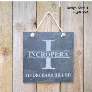 Engraved Slate House Number Sign, Family Name Sign, Address Sign