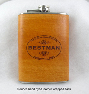 Leather Flask - Groomsmen Gift, Wedding Flask, Best Man Gift -  Engraved Flask with Hand Dyed Engraved Leather Wrap 8 Ounce-