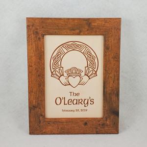 Irish Wedding or Anniversary Claddagh Leather Sign, Irish Sign, Celtic Sign, 3rd Wedding Anniversary, Third Anniversary, Leather Anniversary