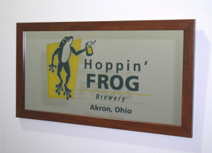 "Custom Etched Bar Mirror - 12"" x 24"" multi color engraving WITH Frame - 3 COLOR ENGRAVING"