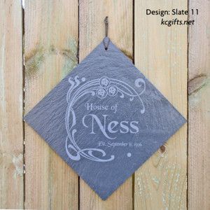 """Family Name Sign Engraved in Slate with your Name and Wedding Date - 12"""" tile"""