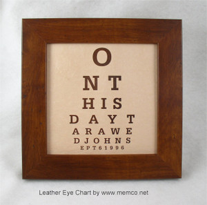 Personalized Eye Chart with your wedding info engraved in leather.