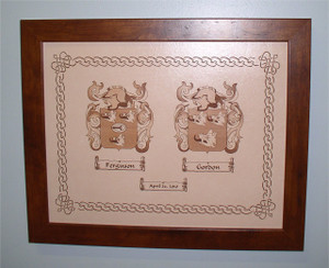 """Dual Family Crest Wedding Gift for Newlyweds, Wedding or Anniversary - Dual Family Crests Burnt in Leather and Framed - 11"""" x 14"""""""
