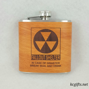 In Case of Emergency Flask - Hand Dyed Engraved Leather Wrap