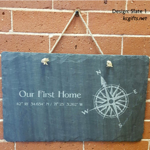 "8"" x 16"" Personalized Slate Sign - Our First Home, New Home Gift, Wedding Gift, Anniversary Gift"