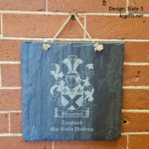 "Coat of Arms, Family Crest Engraved in Slate - 8"" x 8"" slate tile custom engraved - Wedding Gift, House Warming Gift, Anniversary Gift"
