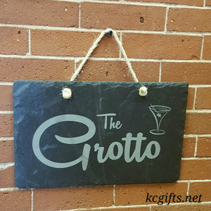 "Engraved Slate Grotto Sign, Personalized sign for your hot tub, weekend get away place or your bedroom - 8"" x 16"""