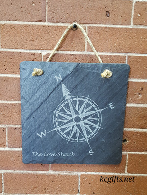 """Engraved Slate Love Shack, Personalized sign for your hot tub, weekend get away place or your bedroom - 8"""" x 8"""""""