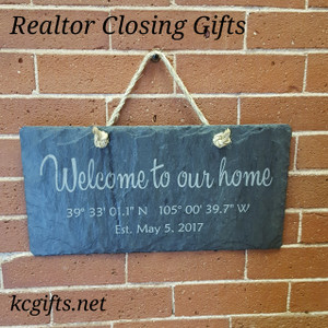 "Engraved Slate House Sign with GPS Coordinates - New Home Sign, Housewarming Gift, Realtor Closing Gift - 8"" x 16"""