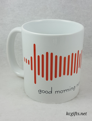 Soundwave Coffee Mug made with Your Voice Recording - Baby's First Words - I DO's - I Love You Message