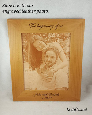 "5"" x 7"" Engraved Picture Frame, WITH ENGRAVED LEATHER PHOTO - Personalized with your Wedding, Family or Pet information."