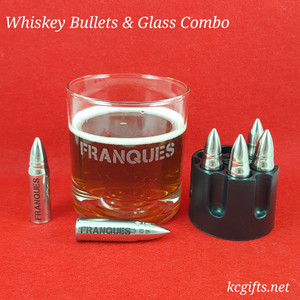 Whiskey Bullet Ice Cubes - Set of SIX personalized stainless steel bullets with revolver base holder for freezing. Add two matching glasses (optional)