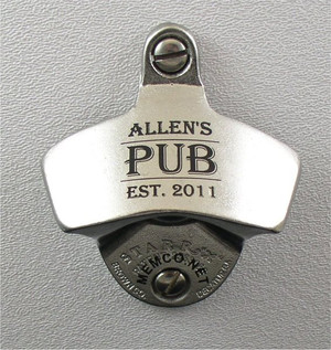STAINLESS STEEL Engraved Beer Opener - Custom Engraved Black Wall Mount Bottle Opener - FREE Engraving