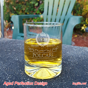 Engraved Rocks Glass with your Year of Birth - Whiskey Glass - Scotch Glass - Cocktail Glass