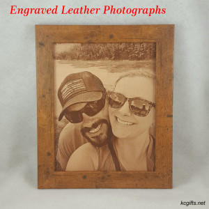 "Photograph Engraved in REAL LEATHER - 3rd Anniversary Gift - Wedding Photograph - Baby Photograph - Family Photograph - 5"" x 7"" FRAMED"