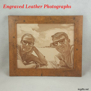 "Photograph Engraved in REAL LEATHER - 3rd Anniversary Gift - Wedding Photograph - Baby Photograph - Family Photograph - 8"" x 10"" FRAMED"