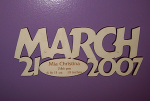 Wooden sign with your wedding, name or baby birth vitals engraved.