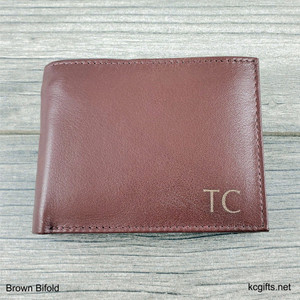 Wallet Brown Bifold - RFID Lining - Personalized Men's Leather Wallet with Engraved Monogram