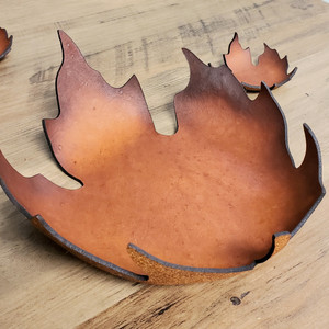 Leather Bowl - Hand crafted Maple Leaf - large size.