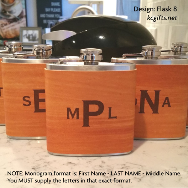 Groomsman Flask or Best Man Flask - Personalized Flask Handmade Leather Flask with FREE Backside Engraving!
