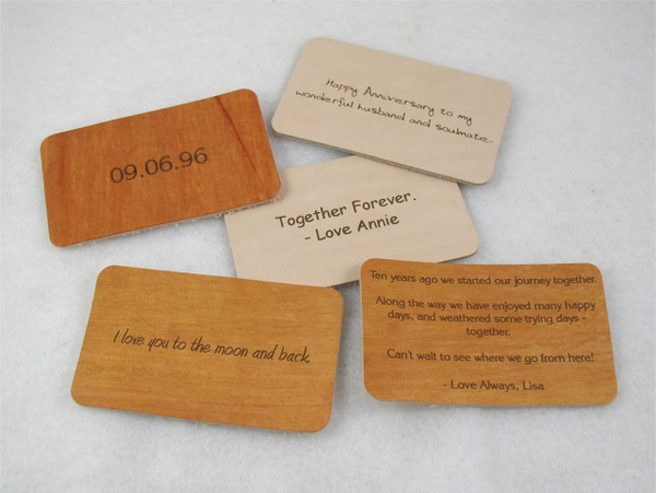 Love Note Leather Wallet Note Card - Anniversary Gift for Men or Women - Third Anniversary Gift - 3rd Anniversary Gift - Leather Anniversary