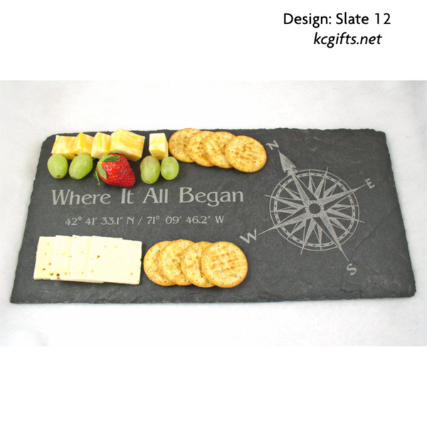 "8"" x 16"" Personalized Slate Cheese Board, Cheese Tray, Serving Tray, Wedding Gift, Anniversary Gift, Housewarming Gift,  Stone"