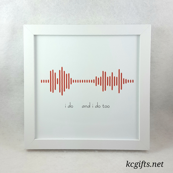 Soundwave Engraved in Oak made with Your Voice Recording - Baby's First Words - I DO's - I Love You Message