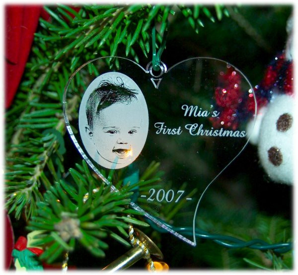 Personalized Christmas Ornament Engraved with your favorite photo - First Christmas Together - Baby's First Christmas - Pet Ornament SET OF TWO IDENTICAL