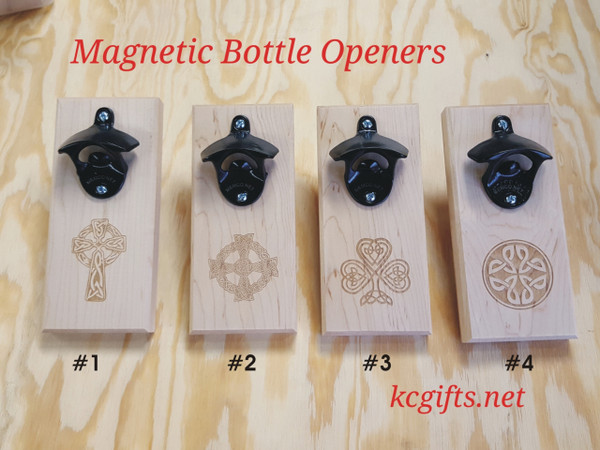 Celtic Magnetic Engraved Bottle Opener -  Catches Caps in Mid-Air!