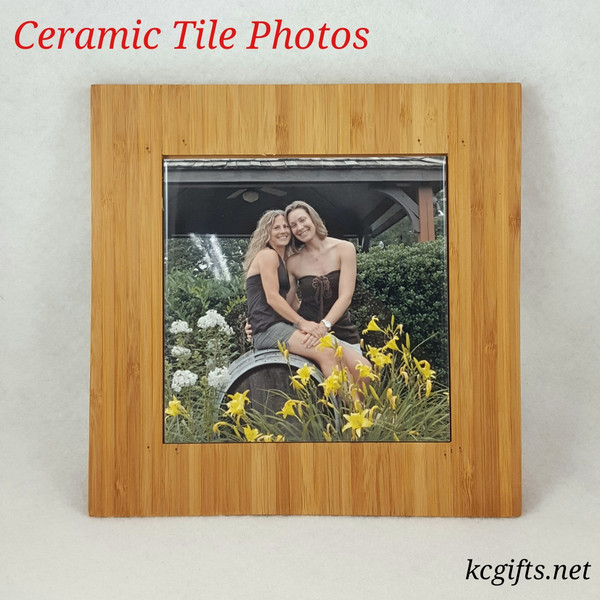 Ceramic Tile printed with your favorite photo, frame included.