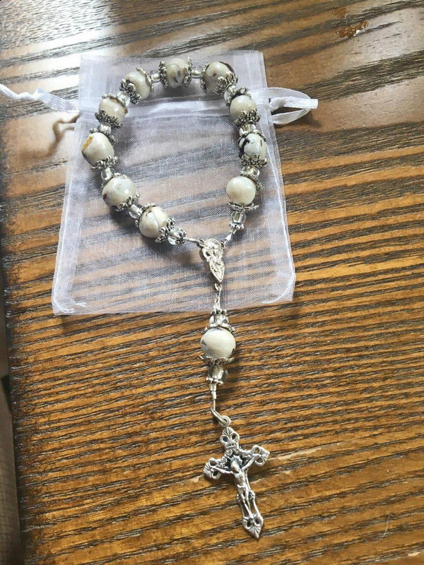 Decade or Finger Rosary Beads made from your Memorial Flowers - Funeral Flower Rosary Beads - Wedding Bouquet Rosary Beads - Funeral Flower Jewelry - Funeral Flowers