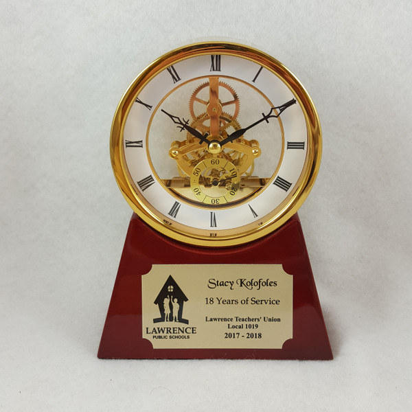 Clock Trophy, Piano Finish Rosewood and Gold Nameplate