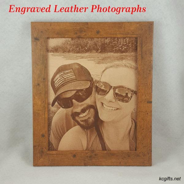 """Photograph Engraved in REAL LEATHER - 3rd Anniversary Gift - Wedding Photograph - Baby Photograph - Family Photograph - 5"""" x 7"""" FRAMED"""